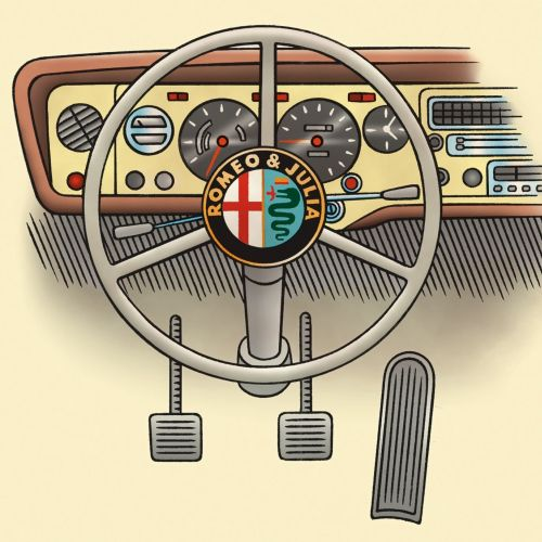 Steering wheel and dashboard of a car