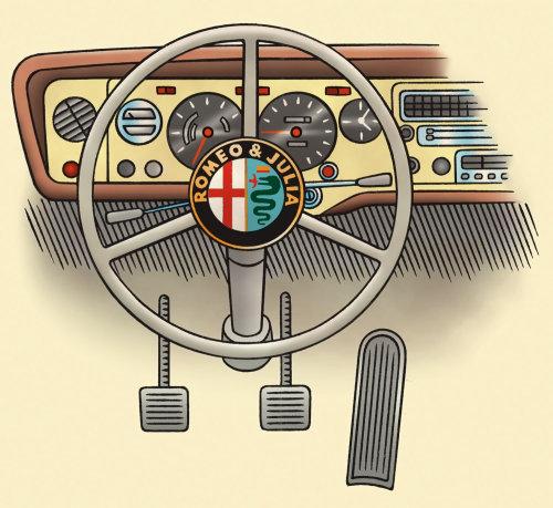 Volante y tablero de instrumentos de un automóvil