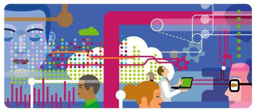 Personas que comparten datos y hacen conexiones con la computación en la nube