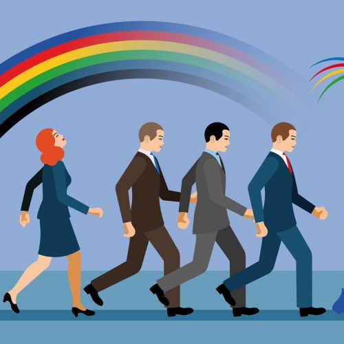 Business people following Leprechaun