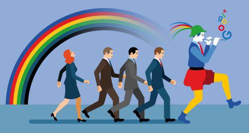 Gente de negocios siguiendo a Leprechaun