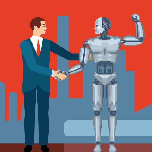 A man with the robot, Conceptual artwork