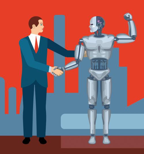 Un hombre con el robot, obra conceptual