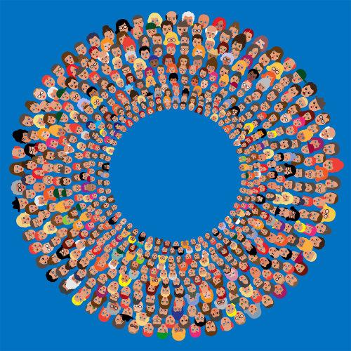 Muchas caras de personas en círculos concéntricos