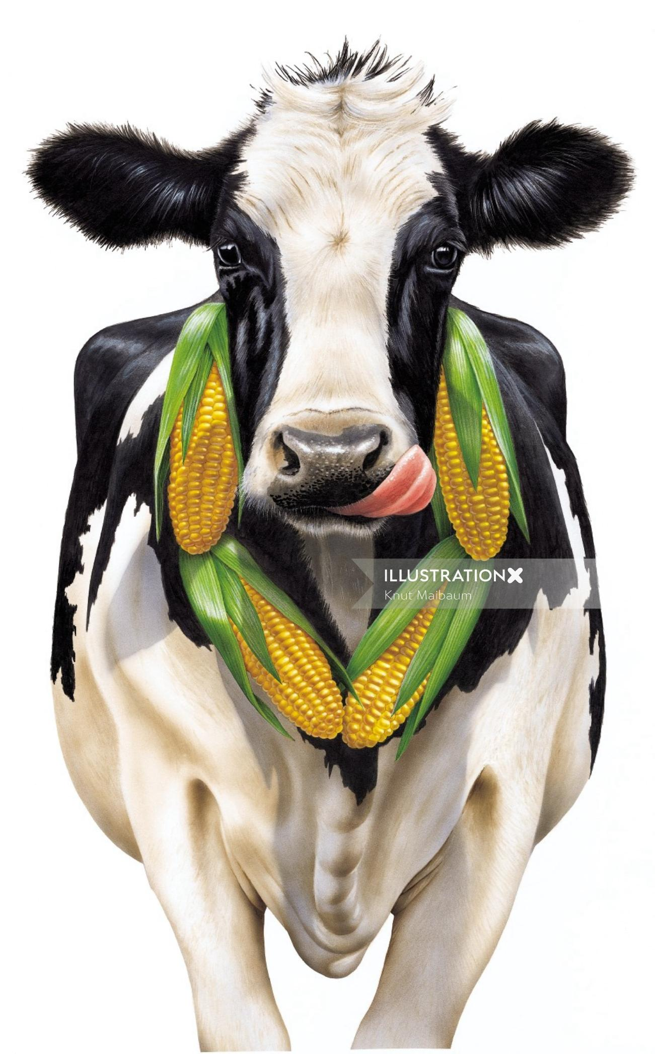 3d art of cow with corns