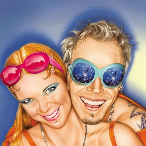 Colorful couple with goggles