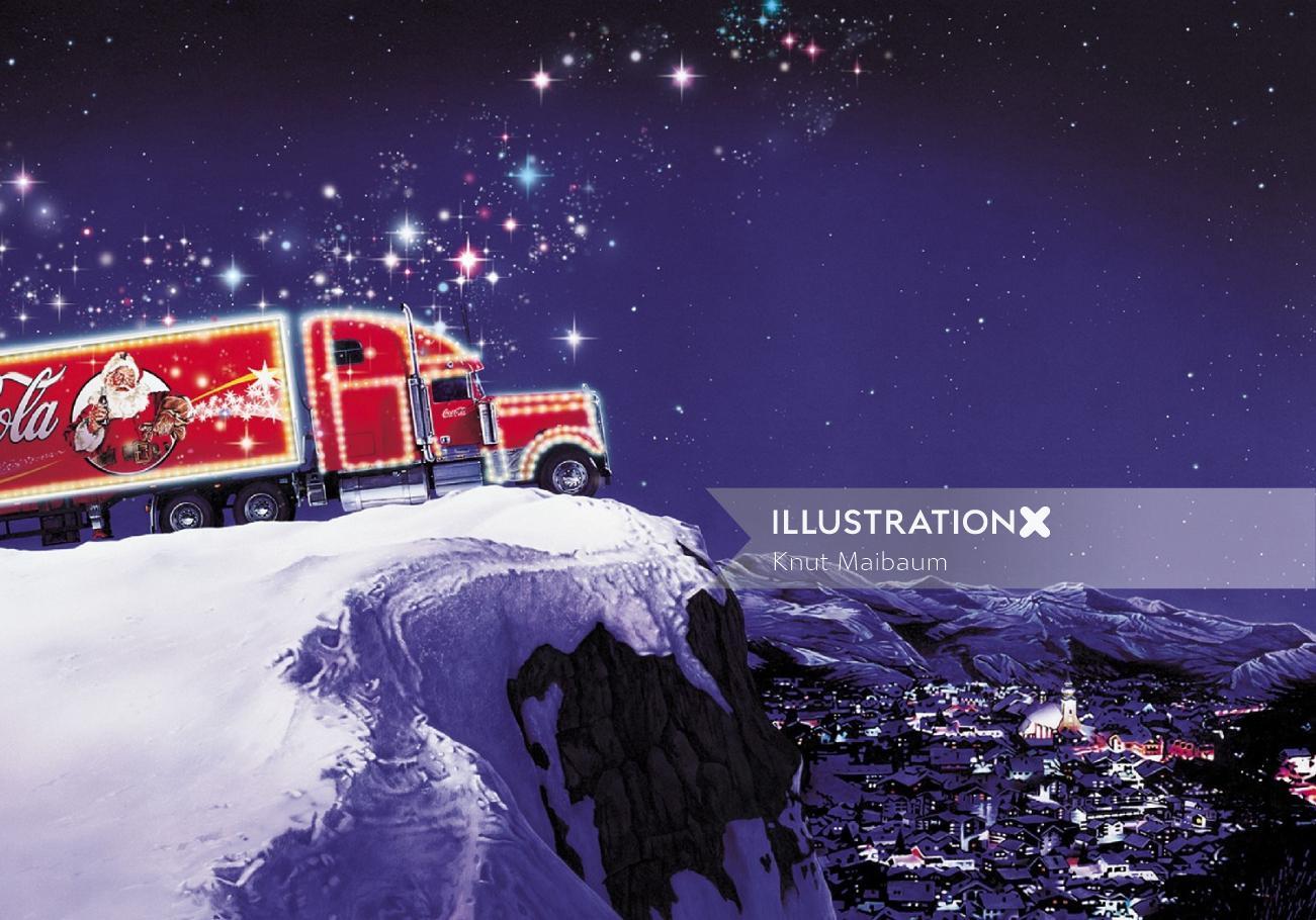 Coca cola Truck on mountain edge
