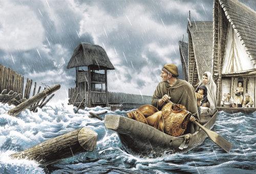 Família em um clima de tempestade