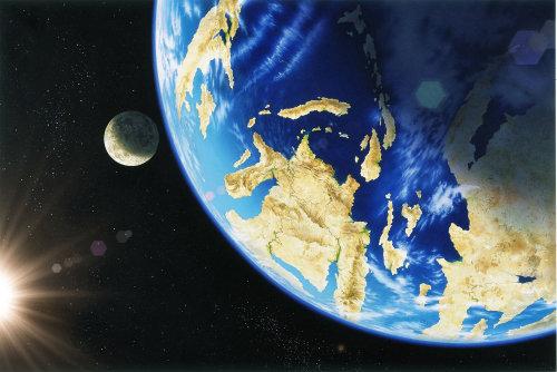 Ilustração 3D da terra e da lua