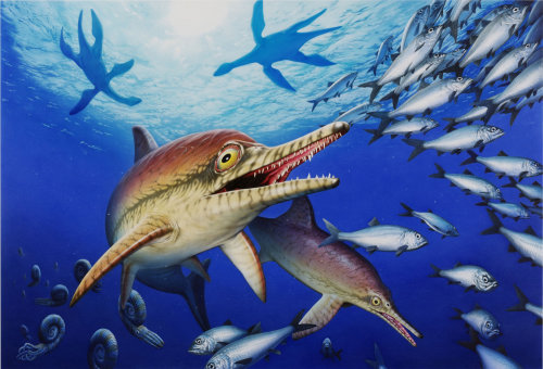Underwater Jurassic sea life