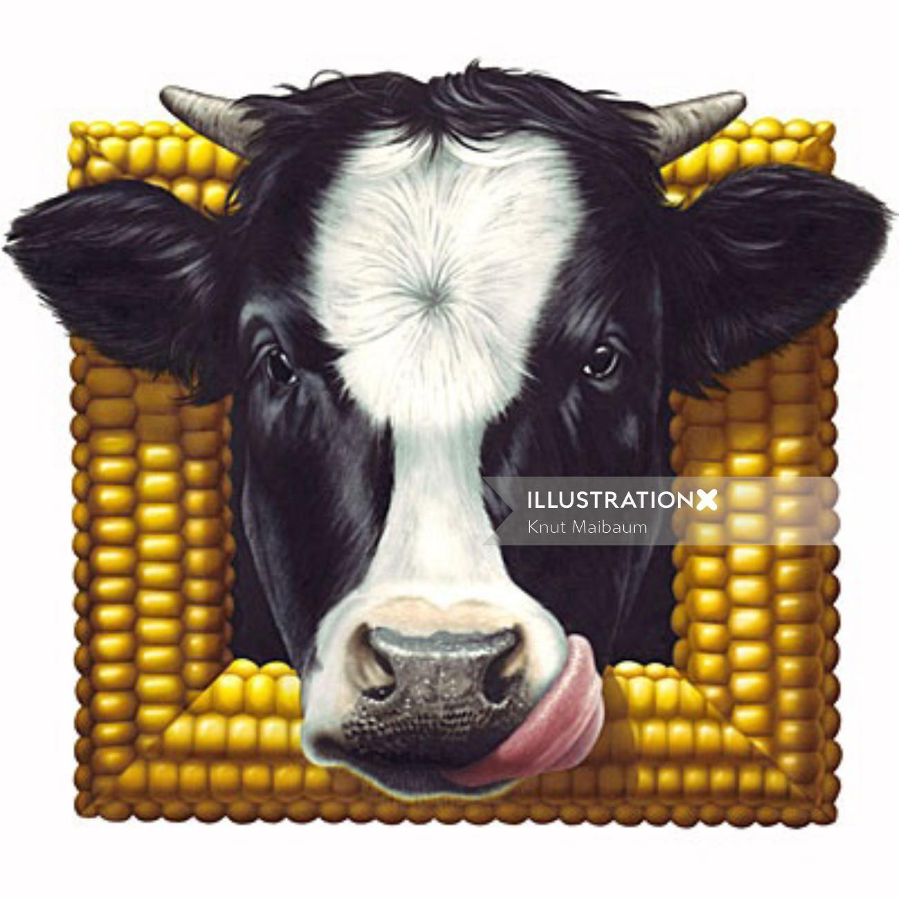 Corn Fram with cow face