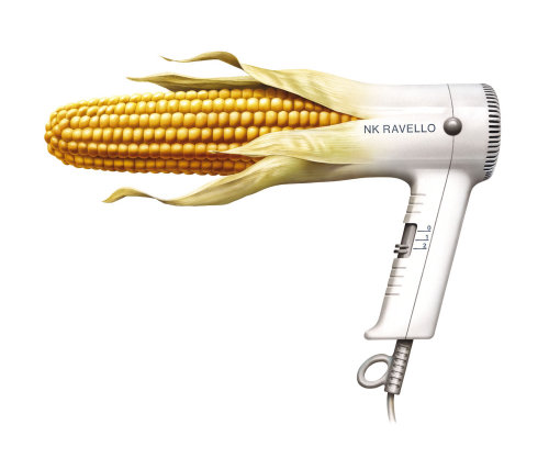 Hair dryer with with corn