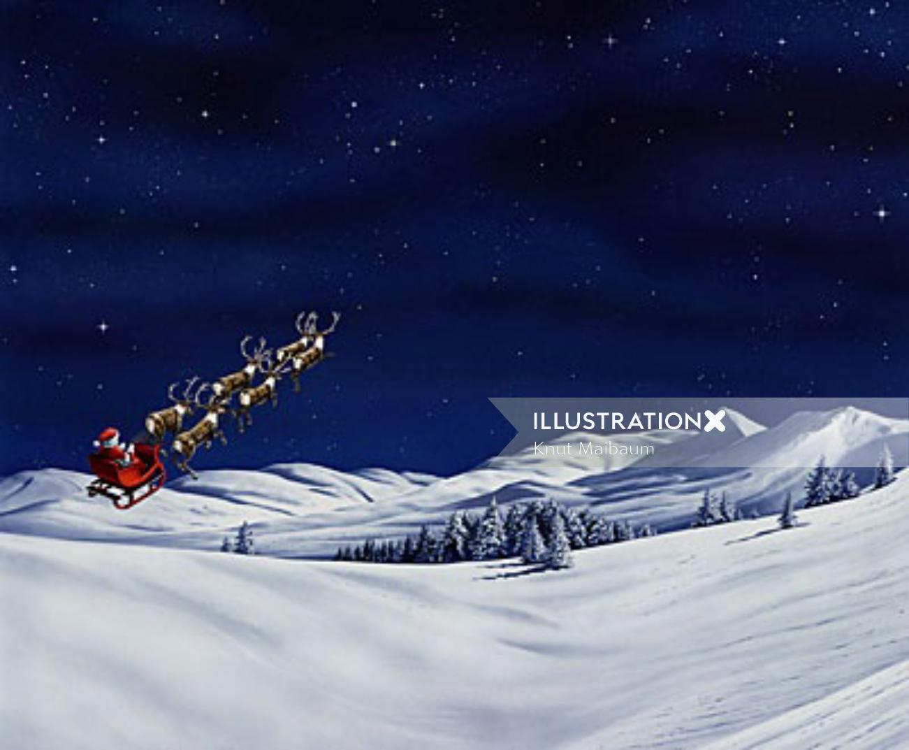 Santa flying on a winter landscape