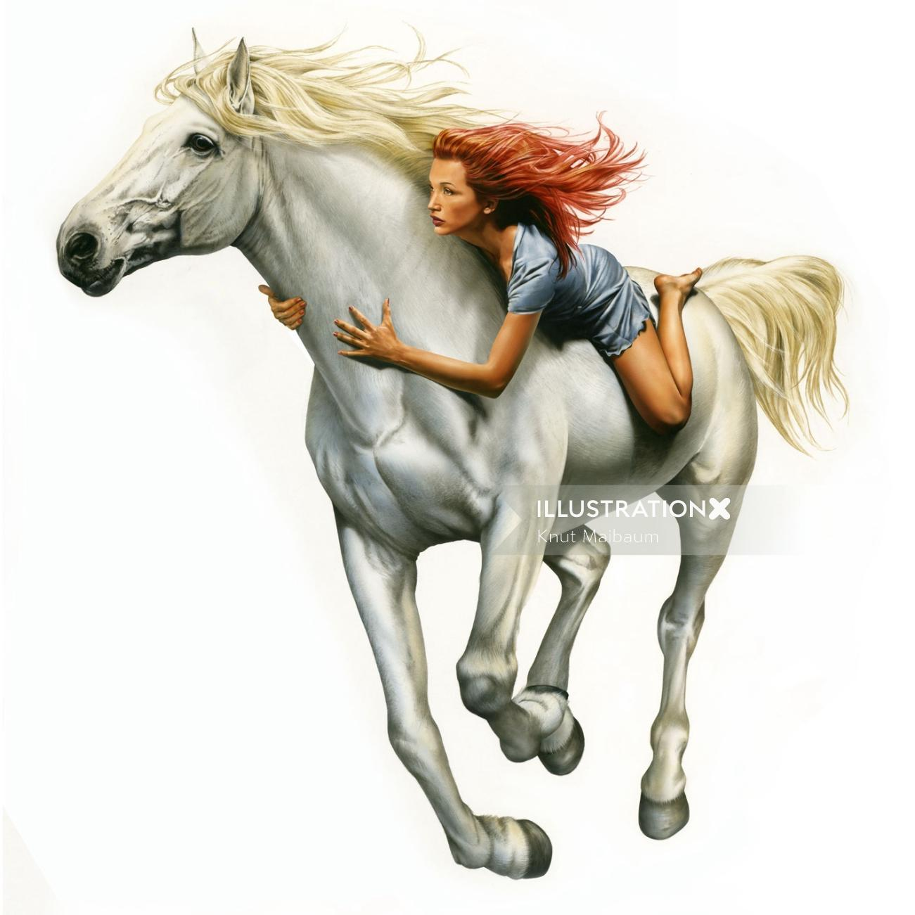 White horse with red haired girl illustration