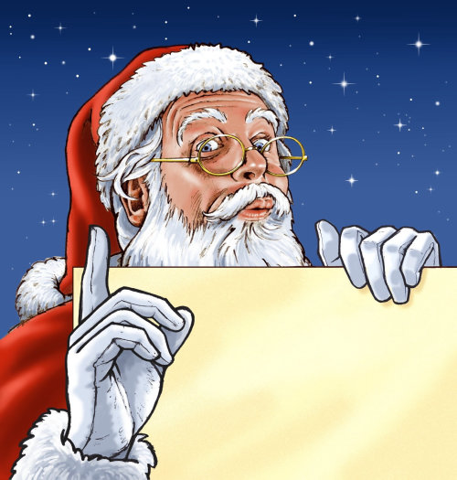 Papai Noel em vermelho com papelão em branco