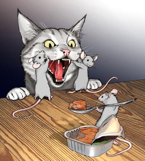 3 mice feeding cat