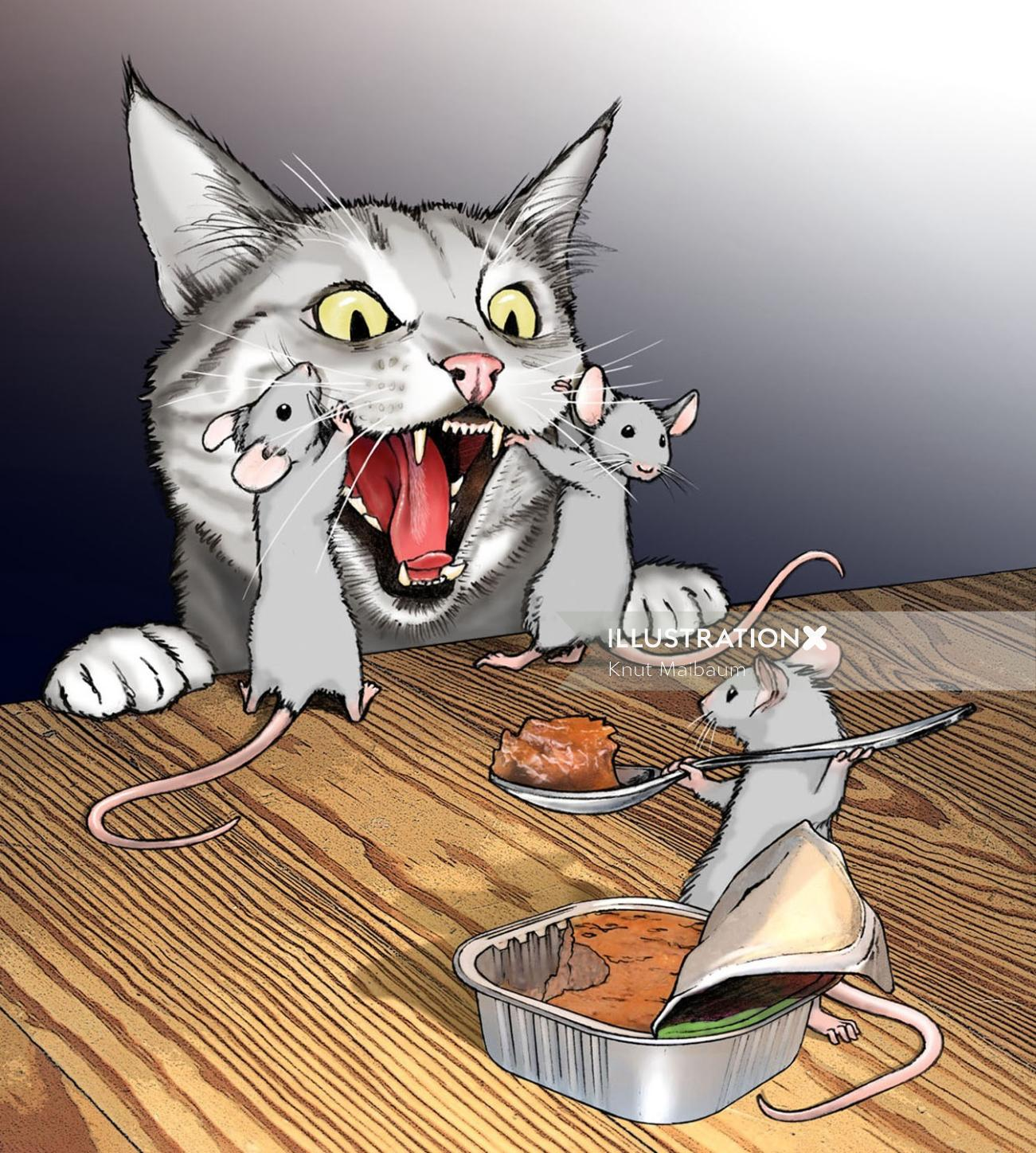 3 mice feeding cat