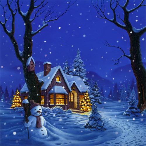 Paisagem de uma casa de neve