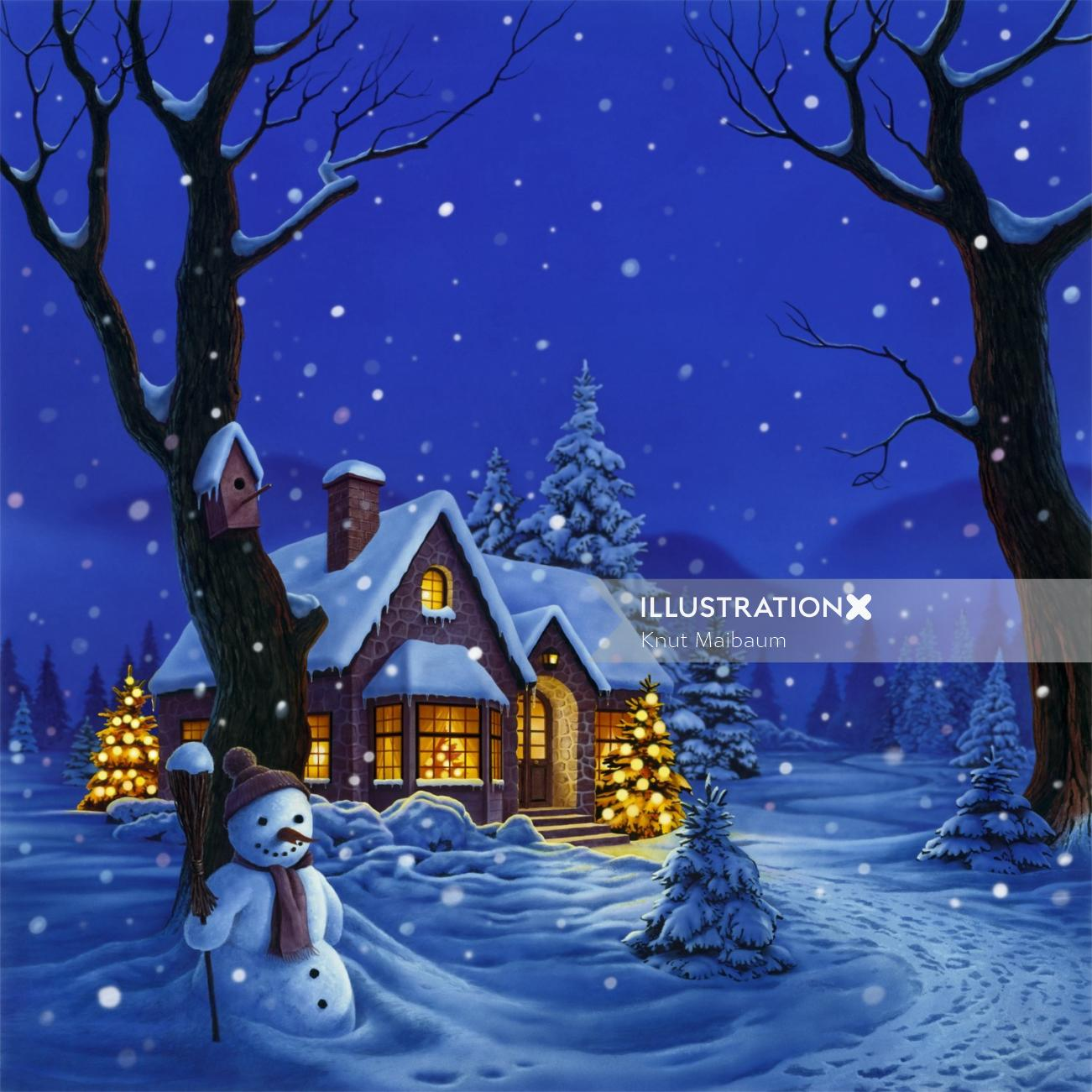 Landscape of a snowy house