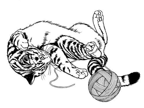 Gato brincando com bola de lã