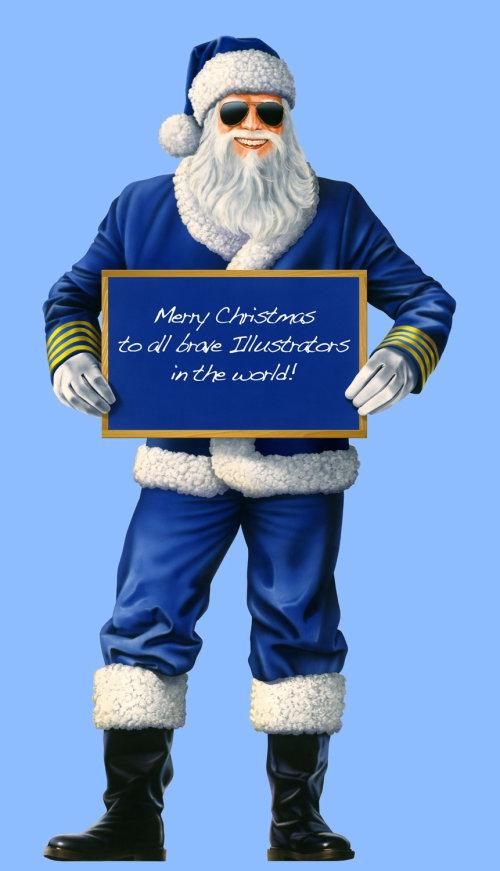 Pilot dressed in santa suit