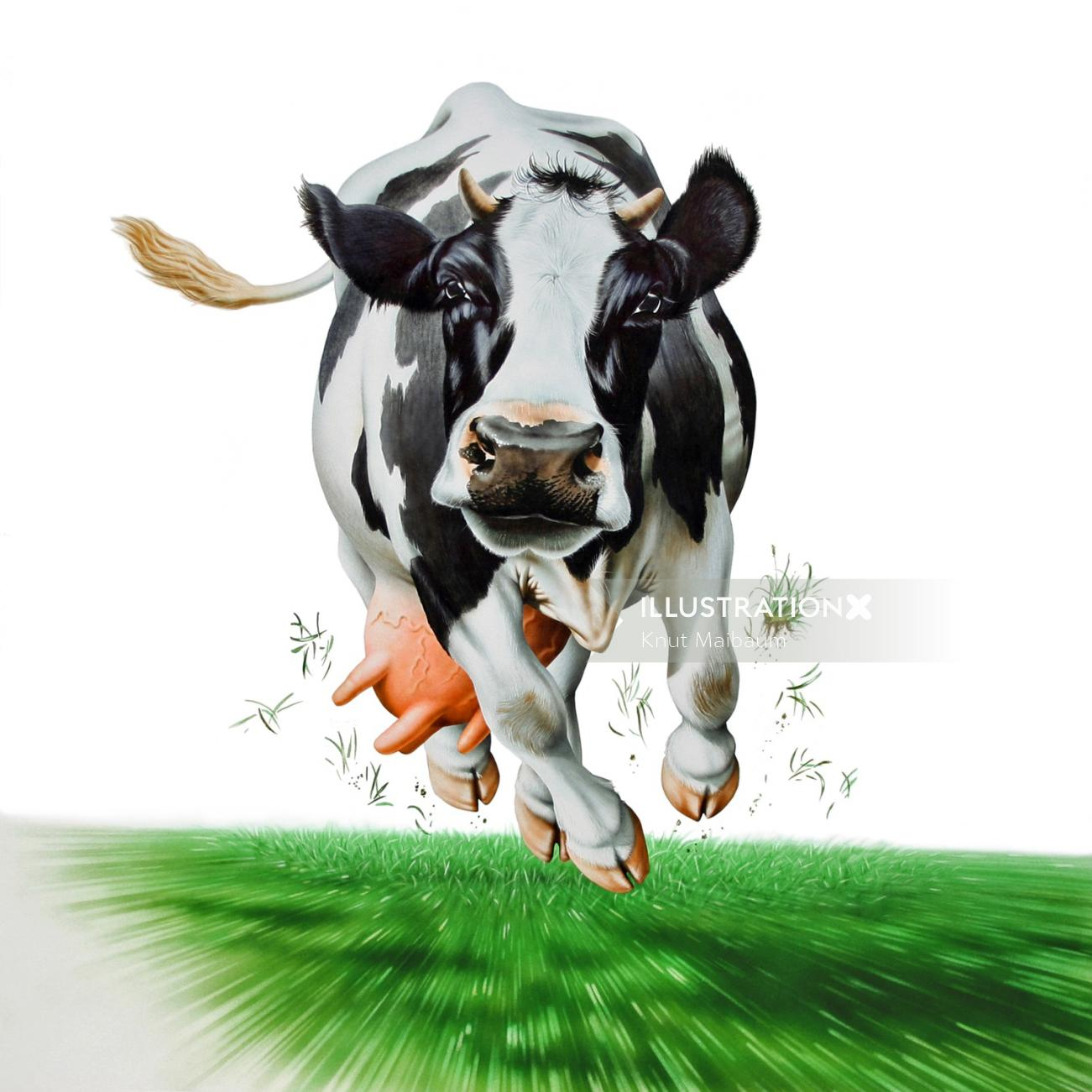 Cow running on high speed