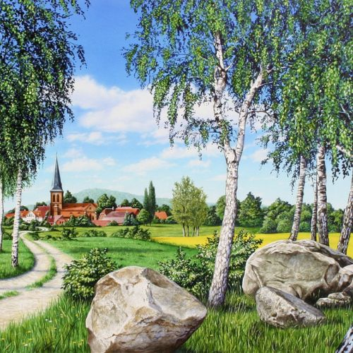 Beautiful landscape with village backdrop
