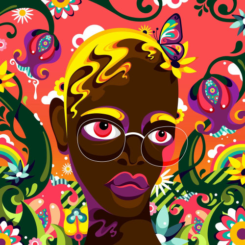 A colourful and fun, pop-art inspired with a psychedelic twist, female portrait.