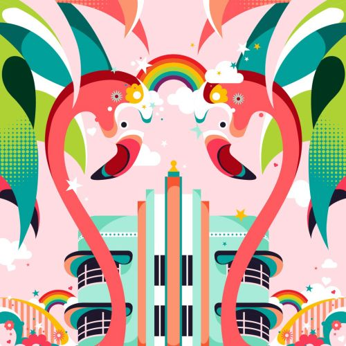 Graphic design of Miami's famous Art Deco buildings for Air BnB travel company