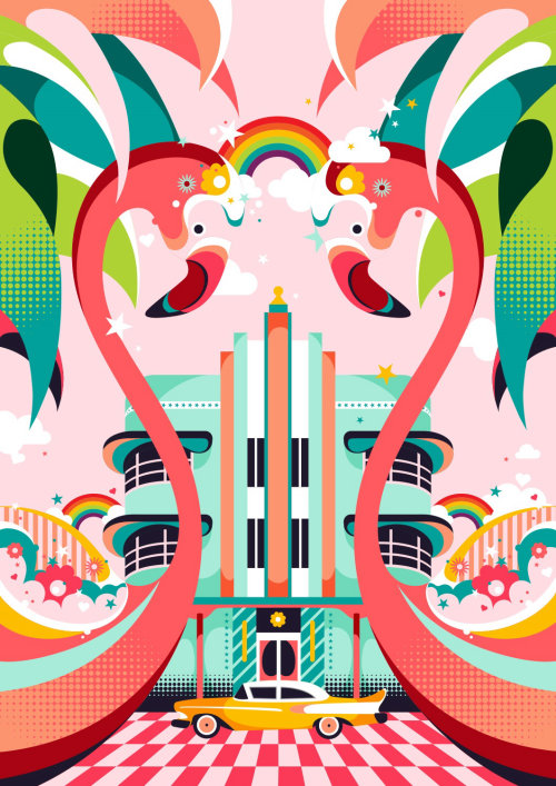 Air BnB旅游公司迈阿密著名的装饰艺术风格建筑的图形设计