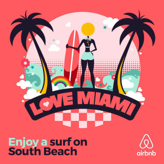 Pop art style Cover for Airbnb Love Miami Beach