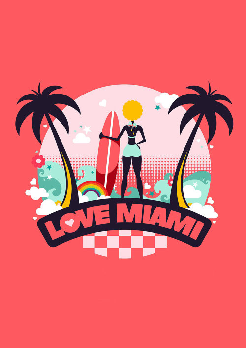 Cover design of love Miami for Air BnB travel company