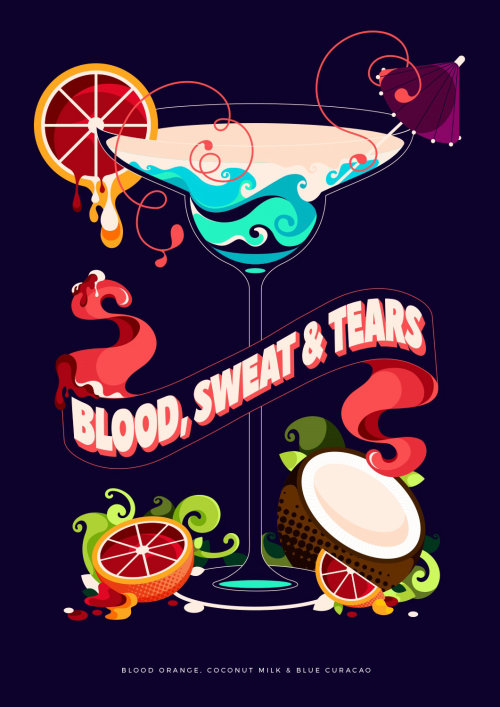 Typographic banner illustration for cocktail