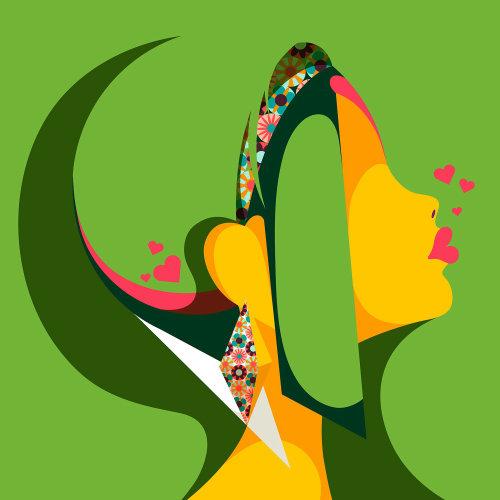 波普艺术女性侧面肖像与不寻常的发型