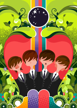 A stylised illustration of The Beatles within a jungle like scene.