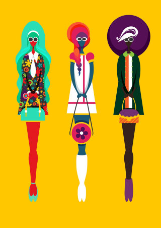 Three full female figures in retro, 60s clothes with handbags.