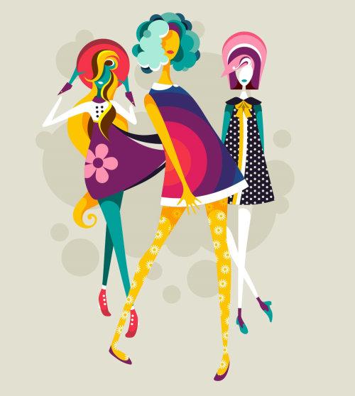 Retro fashion illustration of Groovy Trio