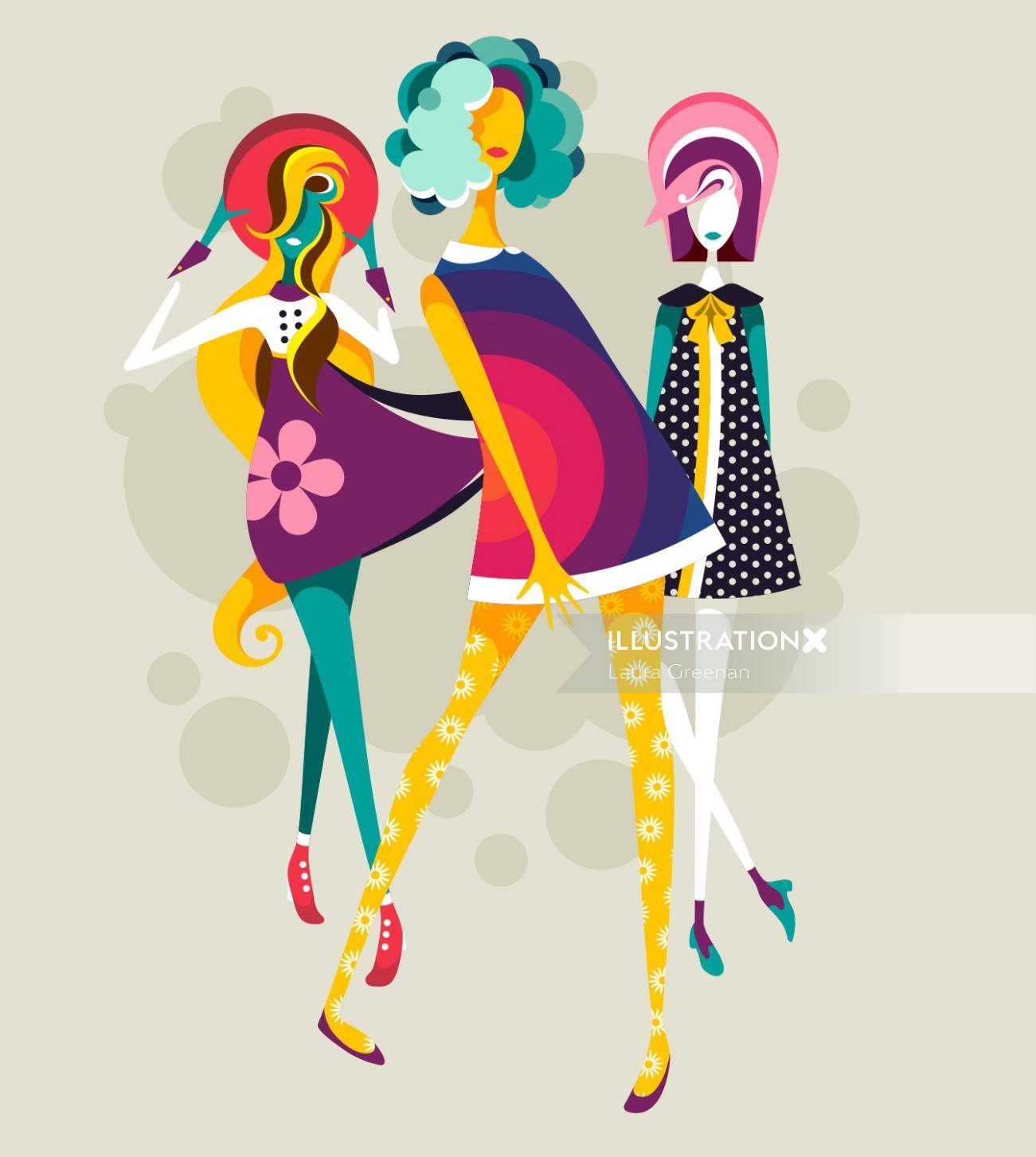 Three full female figures with 60s, retro clothes and hair in different poses.