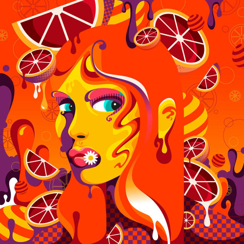 A stylised, orange, bright, fun and colourful female portrait.