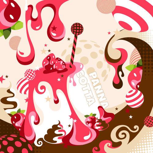 意大利甜点奶油布丁配草莓。