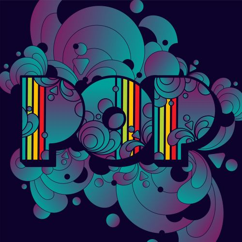 Typographic pop done in colourful, psychedelic, pop-art style.