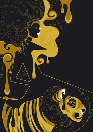 A fashion type illustration using just black and gold as colours.