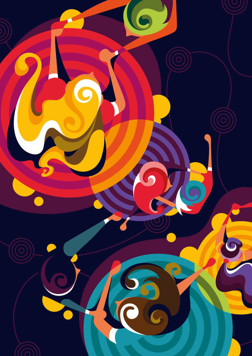 Digital painting of swing dance