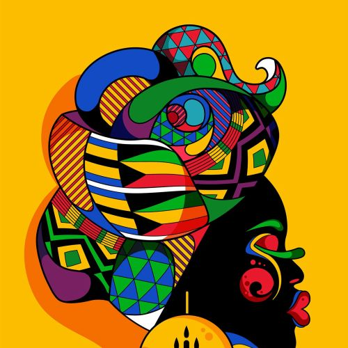 A bright, pop art, colourful dark skinned female portrait.