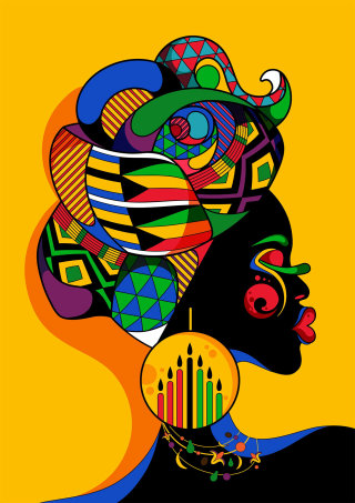 A bright, pop art, colourful dark skinned female portrait.
