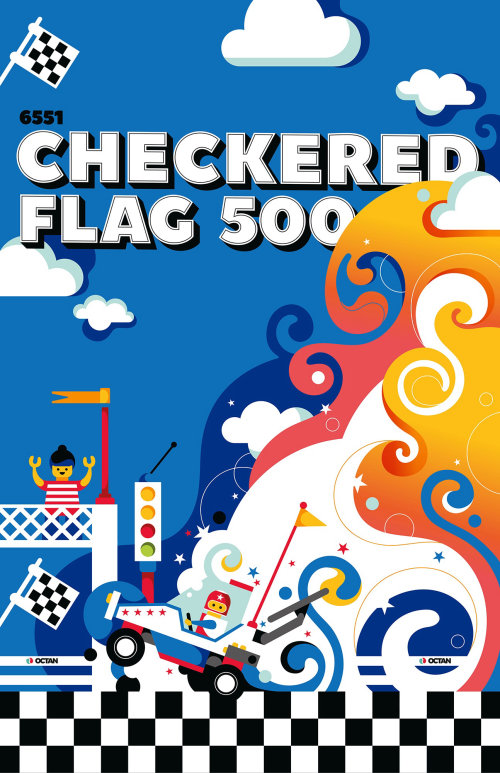 A pop art style illustrated poster for the lego set Checkered Flag.