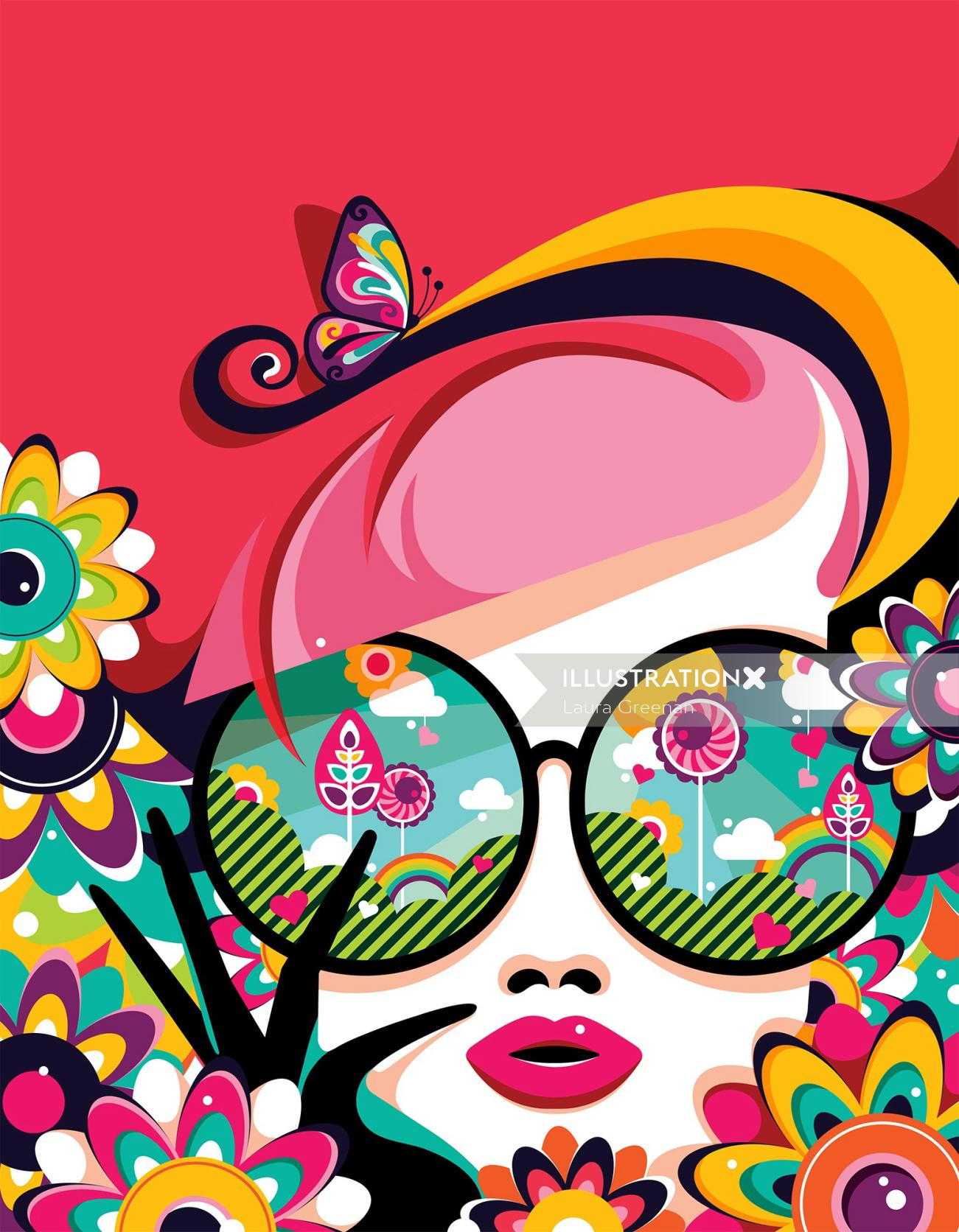 A bright and colourful female portrait done in a pop art style.
