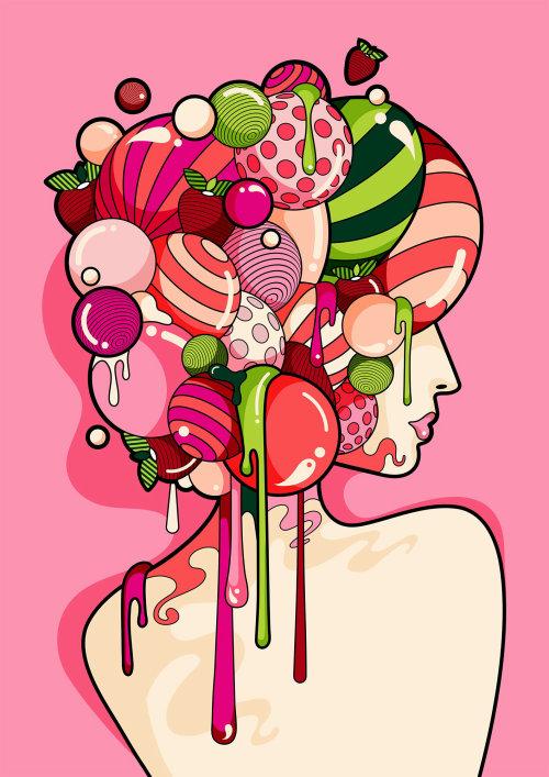 超现实的波普艺术风格女性肖像与多彩和闪亮的头发。