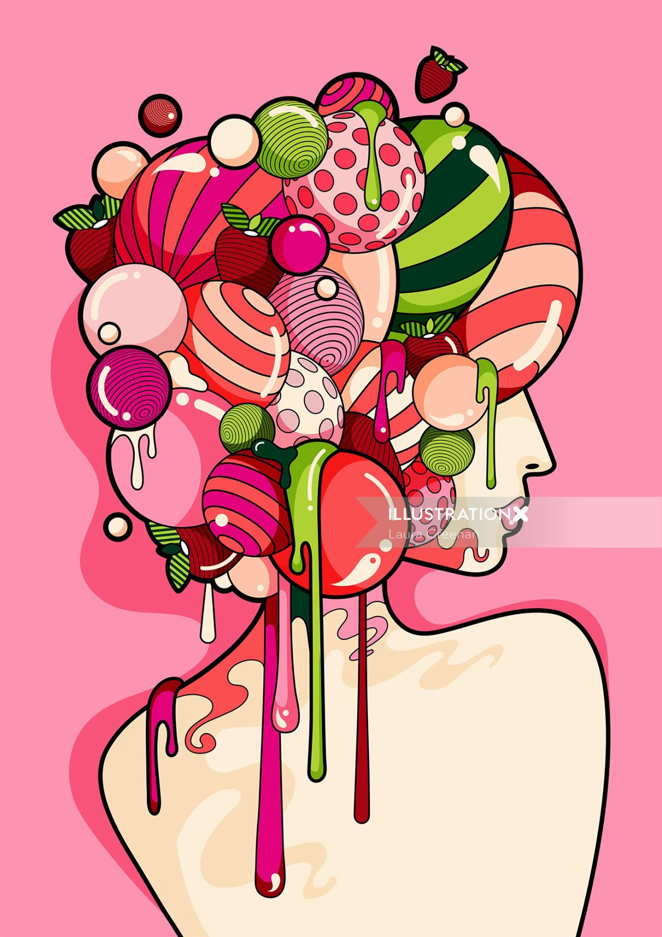 A surreal pop art style female portrait with colourful and shiny hair.