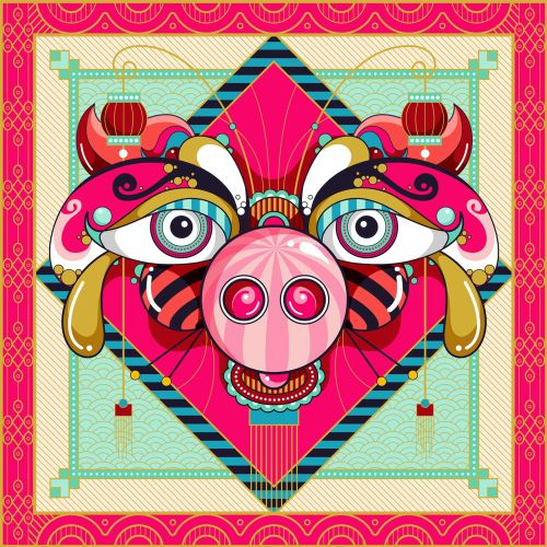 A year of the pig portrait for Chinese New Year 2019 with lanterns.